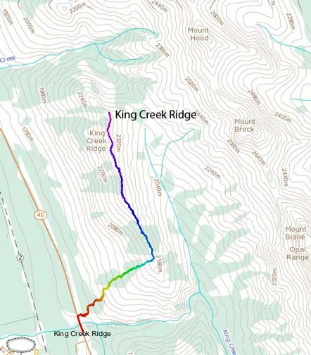 King Creek Ridge standard ascent route