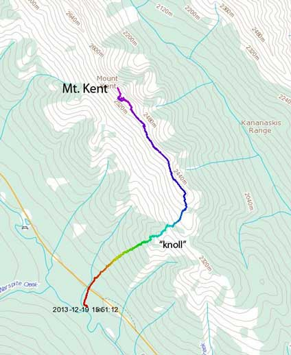 Mt. Kent winter ascent route