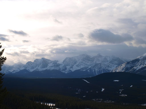 A view of the peaks in Kananaskis Lakes area