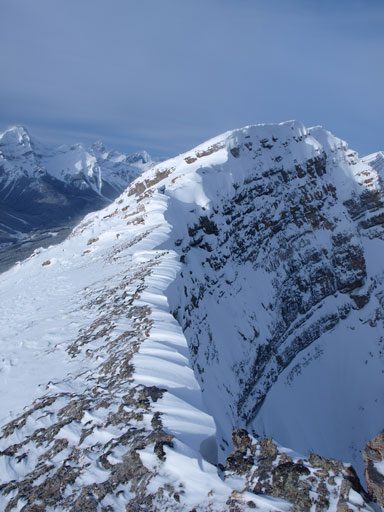 The last bit. Note that in the foreground it's snow covered slabs, not scree..