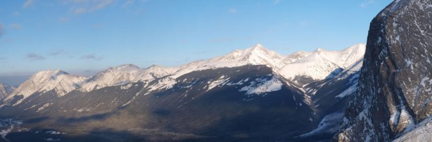 "Part of the ""Big Traverse"". You can see Wasootch, Kananaskis and Old Baldy."
