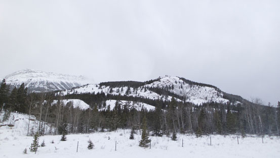 """Looking up the ascent ridge from the """"parking lot"""""""