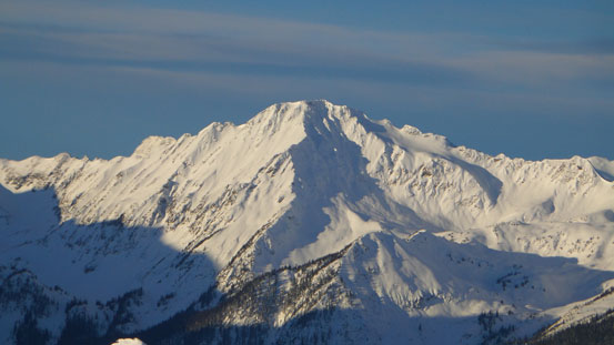 An impressive unnamed peak at the headwater of Allan Creek