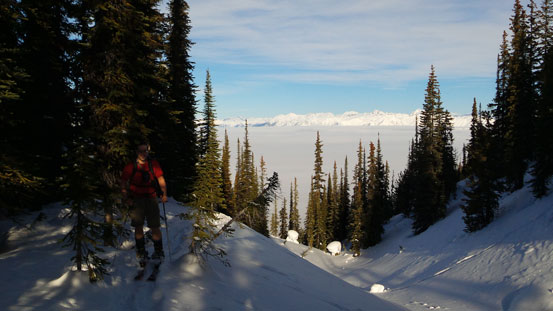 At this point we came across Golden Scrambers' old snowshoe track