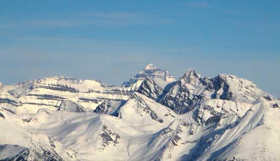 The big pyramid-shaped peak poking behind is Mt. Forbes