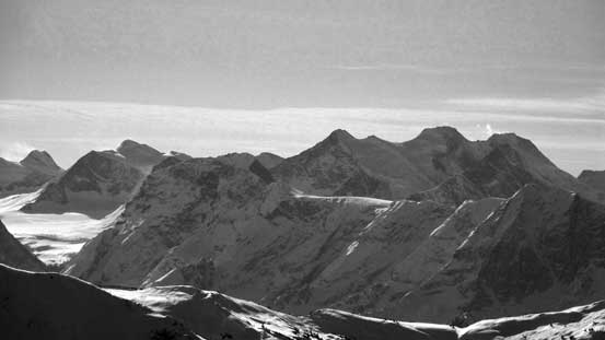 Mt. Dawson massive is the 2nd highest peak in the Selkirks. Deville Neve on left