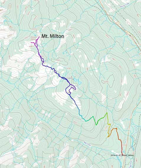 Mt. Milton ascent route via Allan Creek snowmobile road