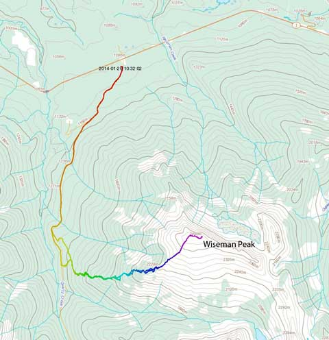 Wiseman Peak winter ascent route