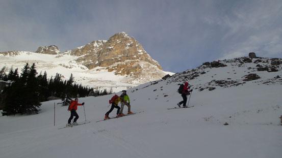 Skinning up towards Boulder Pass, with Ptarmigan Peak behind