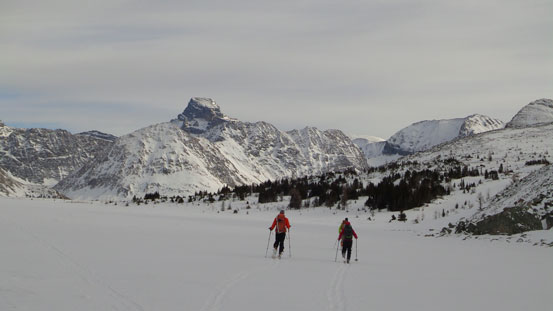 Skiing across Ptarmigan Lake. Mt. St. Bride in the background.