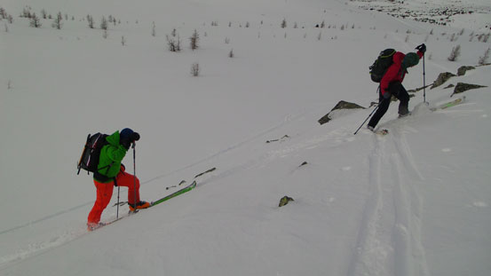 Vern and Andrea skinning up a steeper roll