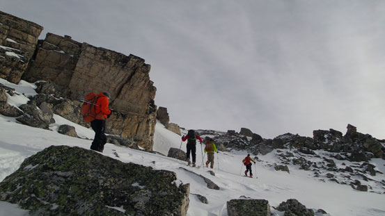 Merging into the upper snow gully