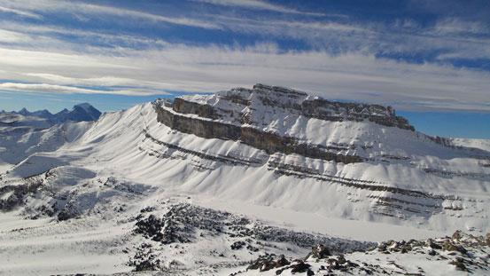 The impressive Redoubt Mountain