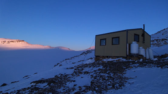 Scott Duncan Hut at sunset