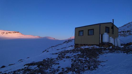 Scott Duncan Hut at sunset