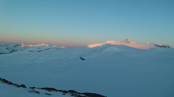 Waputik Icefield and our objective at alpenglow