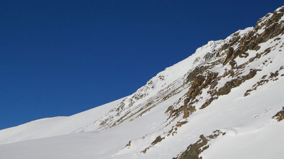 We'd ski towards the scree slope at center of this photo