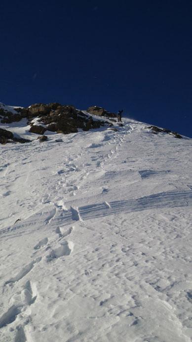 Eric descending a steep slope