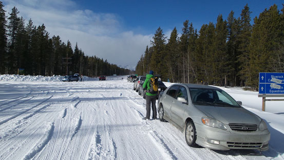 At the Sheep River Road's winter closure gate. We would turn left and park at the low parking lot