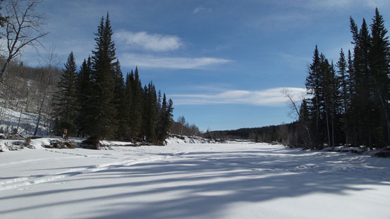 Crossing Sheep River. Note the ATV tracks