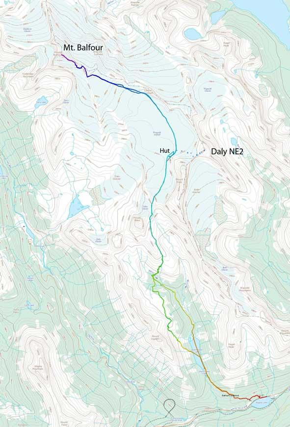 Mt. Balfour ski ascent route via Scott Duncan Hut