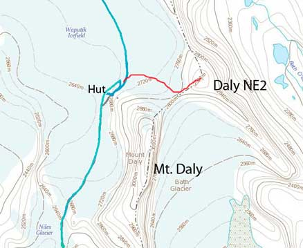 Daly NE2 ascent route from Scott Duncan Hut