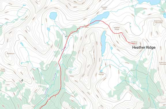 Heather Ridge ski ascent route
