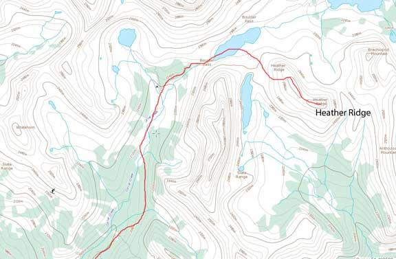 Heather Ridge ski ascent route