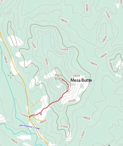 Mesa Butte hiking route