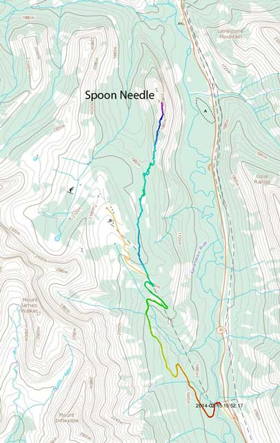 Spoon Needle ski ascent route from Fortress ski area
