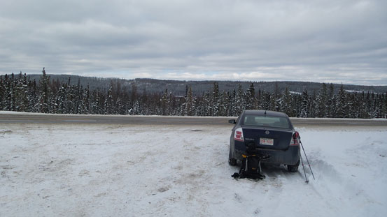 I had to park on Highway 40. Need winter tires and 4x4 to drive the road.