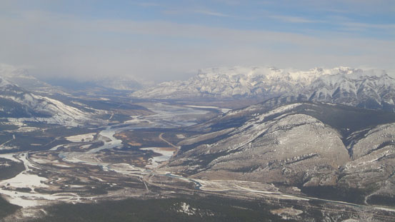 Athabasca River Valley, with Morro Peak in front and Roche Miette in background.
