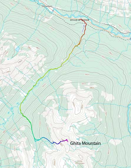 Ghita Mountain winter ascent route