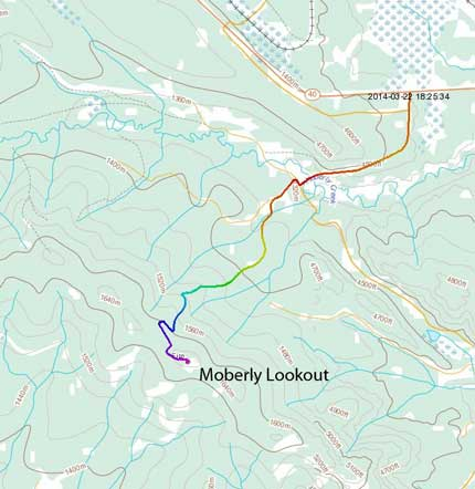 Moberly Lookout hiking route