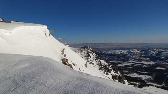 Cornices on the summit ridge