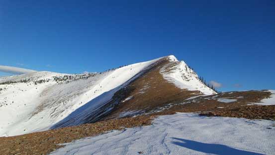 The ridge is foreshortened