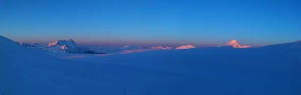 Panorama of the Columbia Icefield at alpenglow