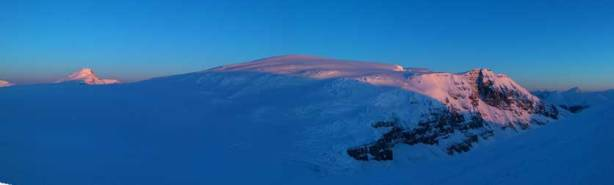 Panorama of Snow Dome at alpenglow