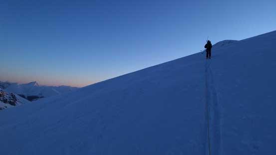 Ben breaking trail diagonally up the big slope