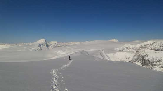 Ben traversing towards the second false summit
