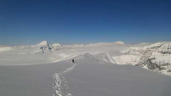 Ben traversing towards the second false summit