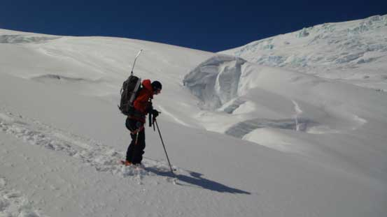 Ben maneuvering around big open crevasses