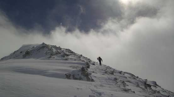 Ferenc ascending the north peak.