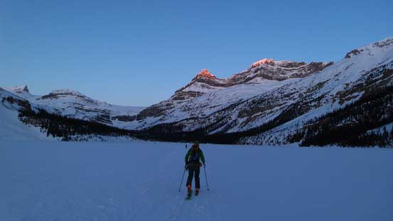 Skinning across Bow Lake in the morning. Alpenglow on Portal and Thompson