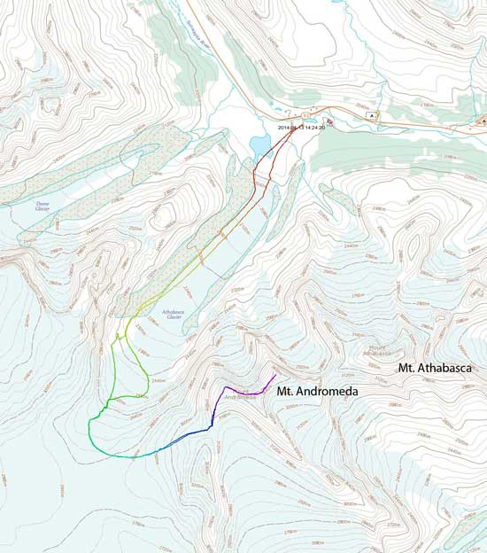 Mt. Andromeda ski ascent route via South Ridge