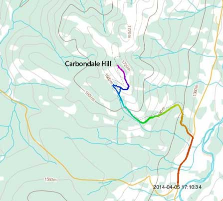 Carbondale Hill standard hiking/snowshoeing ascent route