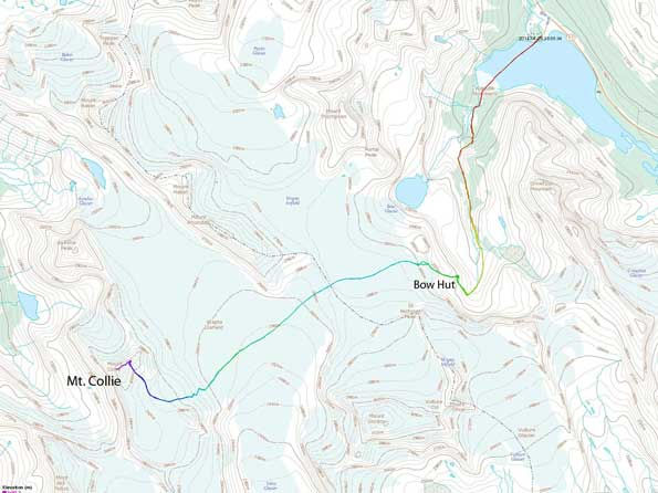 Ski ascent route for Mt. Collie via Bow Hut