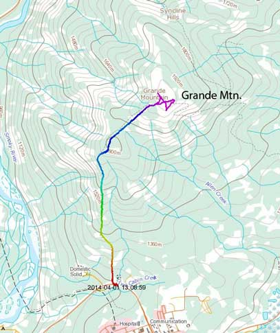 Grande Mountain hiking/snowshoeing ascent route