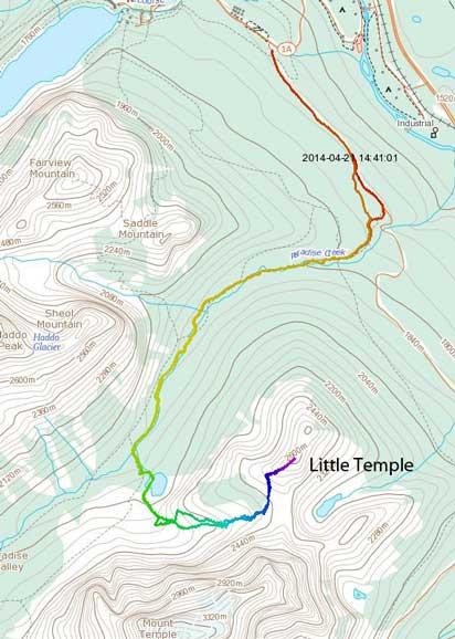 Little Temple ski ascent route