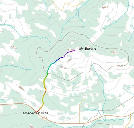 Mt. Backus snowshoeing ascent route